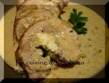 Cuisse de poulet farcie et sauce moutarde