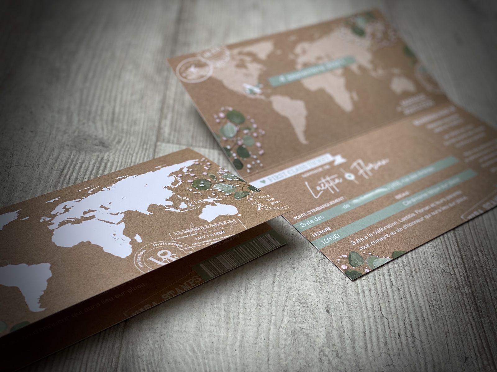 #efdcbysoscrap carton invitation thème voyage timeline avec pictogrammes programme du jour horaires et adresses à personnaliser