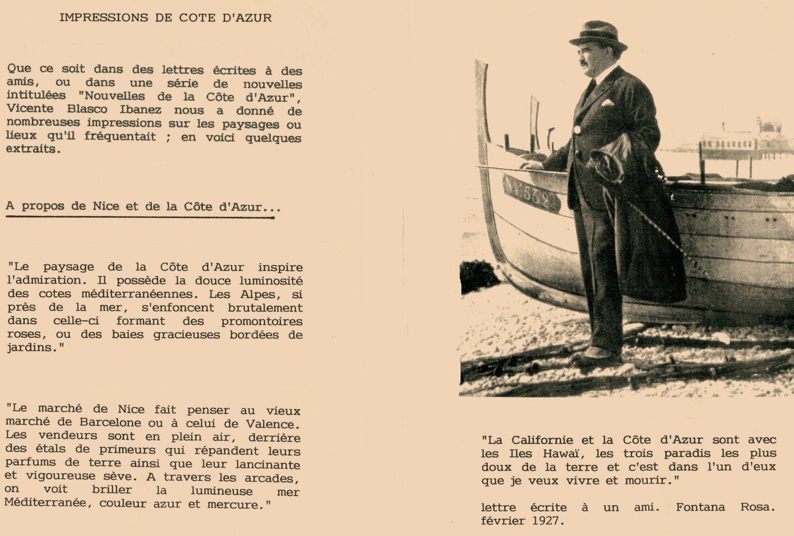 Citations de Vicente Blasco Ibàñez sur la Côte d'Azur et Menton