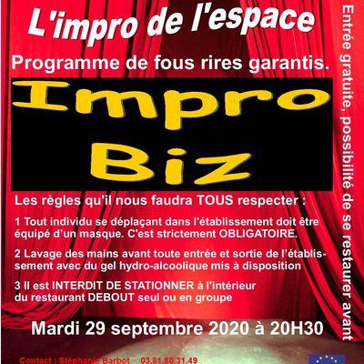 Repas Théâtre d'Impro Mardi 29 septembre 2020