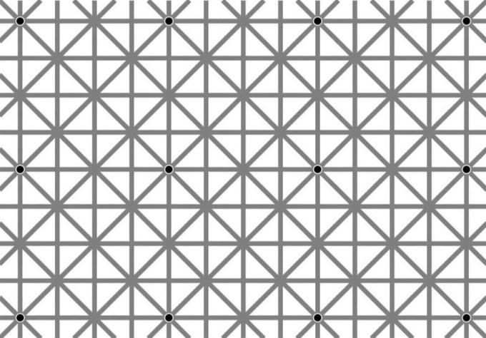 douze points sur la grille grise qu'on ne peut pas voir en même temps