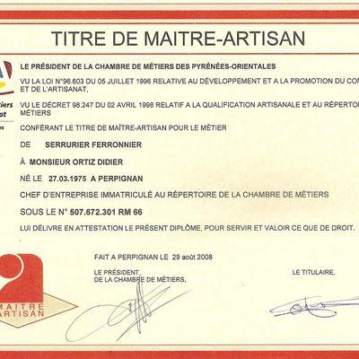 Bienvenue sur le blog de Didier Ortiz Maitre Artisan serrurier ferronnier métallier.66