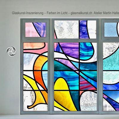 Farben im Licht - Glaskunst-Inszenierung Atelier Martin Halter Bern