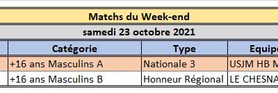 Week End du 23 / 24 Octobre 2021