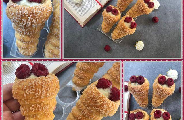 Cornets crème pâtissière et framboise