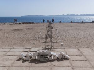 """Selected pieces of the collective exhibition """"Letter to Africa"""" on the island of Gorée off Dakar, Senegal."""