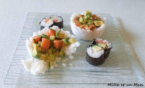 Sushis cups à l'avocat, saumon & concombre