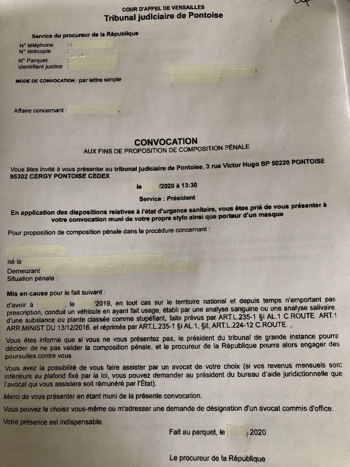 convocation composition pénale conduite sous stupéfiants Pontoise