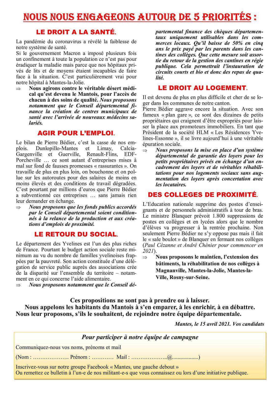 Canton de Mantes. Elections départementales 2021. Une gauche debout