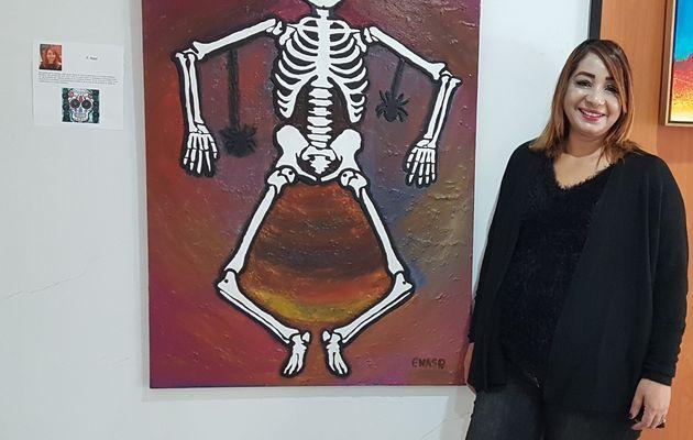 Skeleton dancing-Squelette qui danse-tableau peinture Technique Mixte Muertos et Halloween sur toile par FATHIA NASR