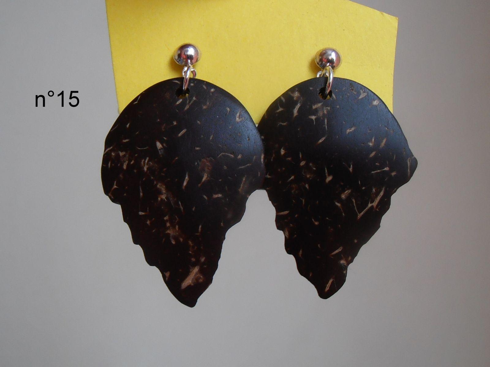 Boucles d'oreilles en coque de noix de coco
