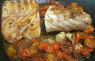 Filets de cabillaud, sauce tomates, vin blanc et basilic