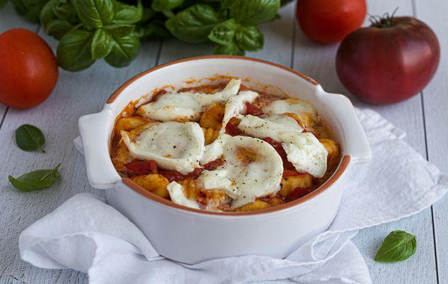 Gratin de gnocchi à la tomate et mozzarella