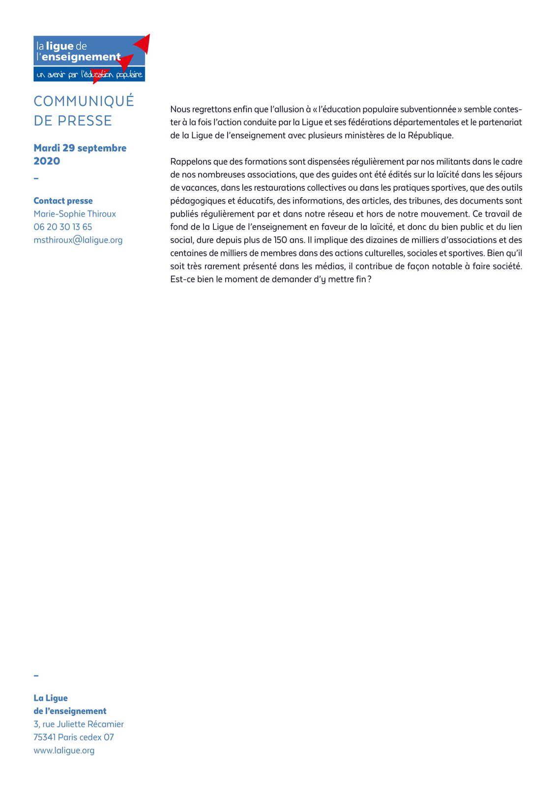 La Ligue de l'enseignement et l'islamophobie : une mise au point nécessaire