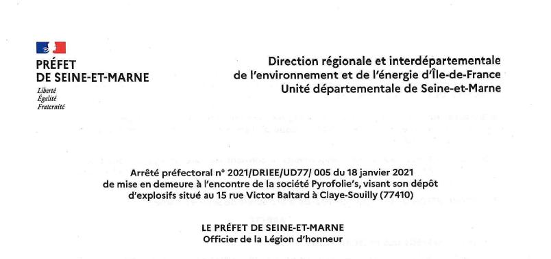 Inquiétude à Claye-Souilly: dépôt d'explosifs près du notaire et de la poste, la préfecture met en demeure l'entreprise Pyrofolie's!