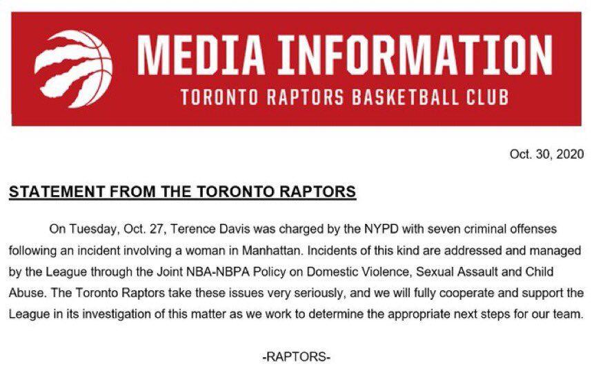Les Raptors vont coopérer à l'enquête concernant Terence Davis