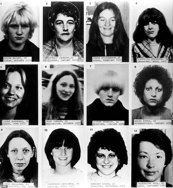 A composite of 12 of the 13 victims murdered by Sutcliffe. Victims are: (top row, left to right) Wilma McCann, Emily Jackson, Irene Richardson, Patricia Atkinson; (middle row, left to right) Jayne McDonald, Jean Jordan, Yvonne Pearson, Helen Rytka; (bottom row, left to right) Vera Millward, Josephine Whitaker, Barbara Leach, Jacqueline Hill