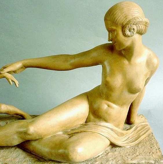 M A Bouraine Femme à l'enfant terre cuite Art Déco 1930 Susse Frère
