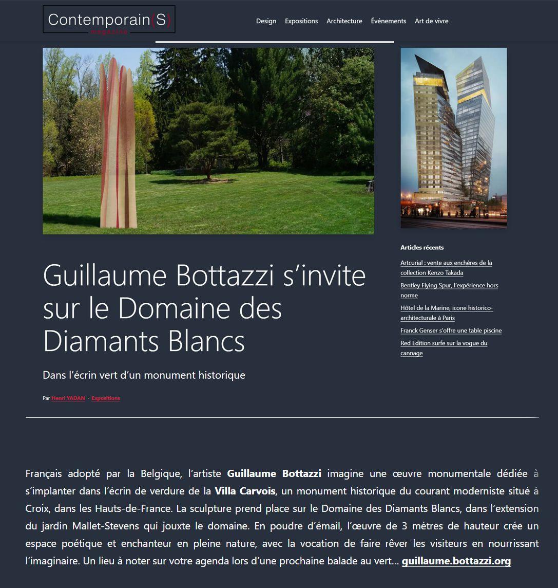 Sculpture de Guillaume Bottazzi de 3 mètres de haut qui prendra place dans le Domaine des Diamants Blancs à Croix, situé dans l'extension du jardin Mallet-Stevens