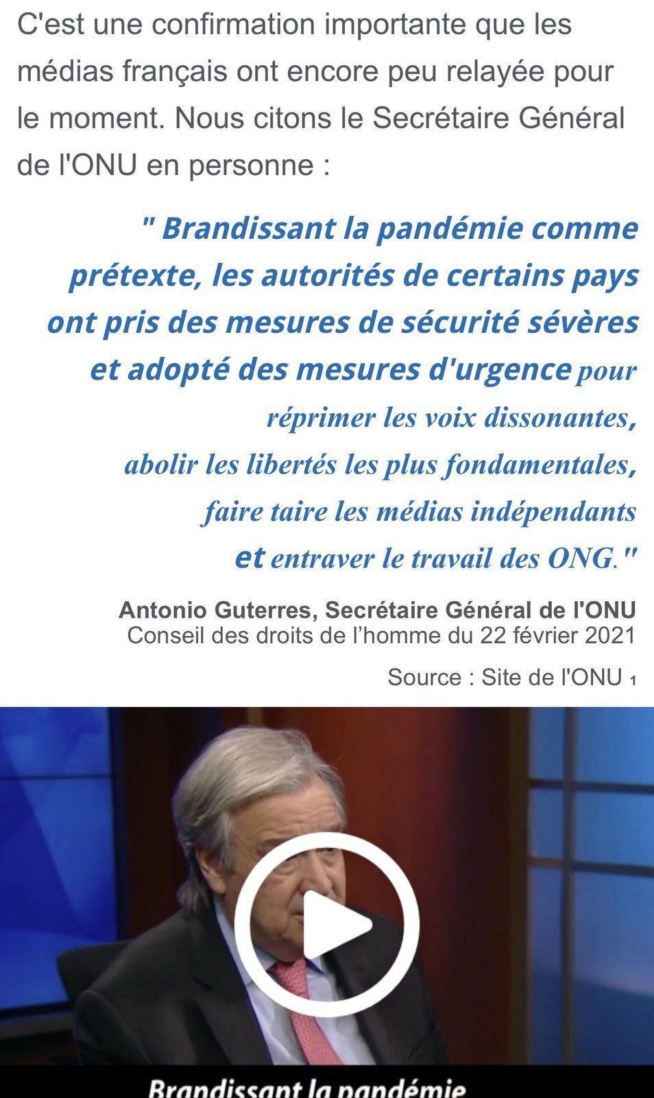 """António Guterres, Secrétaire général de l'ONU : """"Les quatre coins du globe sont touchés par des violations des droits humains"""". La pandémie est utilisée pour prendre """"des mesures de sécurité sévères"""", """"réprimer les voies dissonantes, abolir les libertés les plus fondamentales"""""""