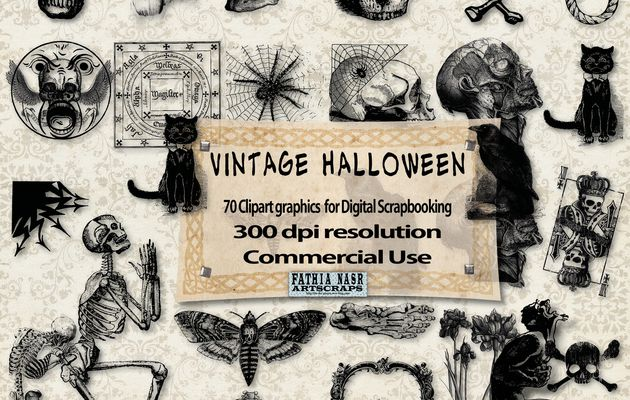 Vintage Halloween Kit scrapbooking - 70 Cliparts Resolution 300 dpi - Commercial Use