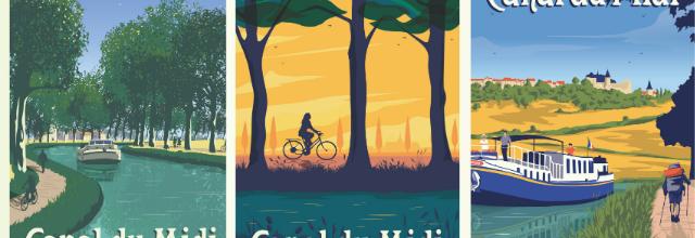 La poésie du canal du Midi déclinée en affiches vintage