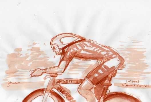 Un plaisir de dessiner le Tour de France devant la télé. Virtuosité obligée.