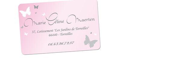 Une carte de visite personnalisée avec de jolis papillons …