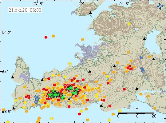 Reykjanes Peninsula - earthquakes at 21.10.2020 / 06:30 - Doc .IMO
