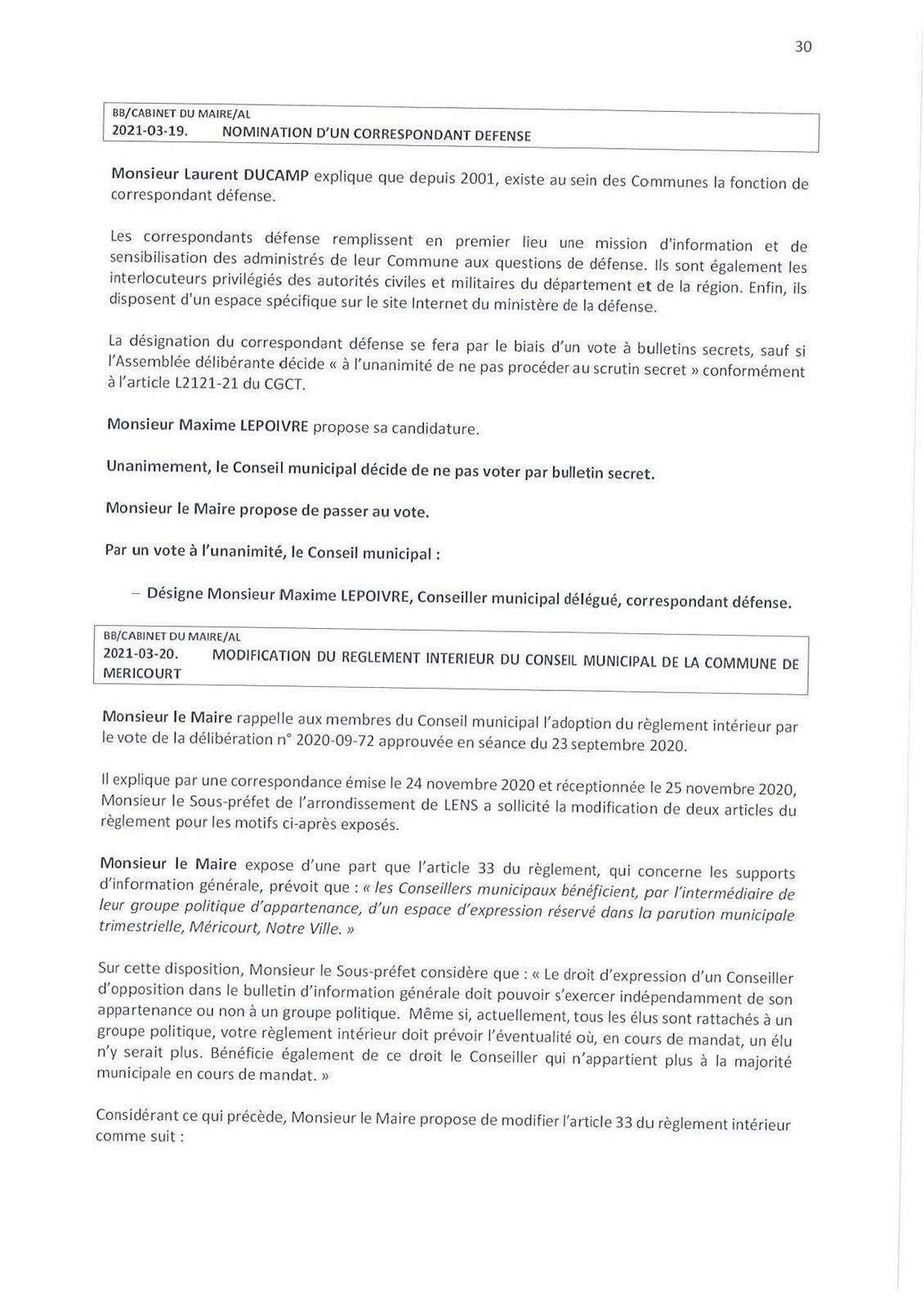 Conseil municipal de Méricourt du 10 mars 2021 : le compte-rendu officiel est en ligne