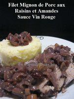 Filet Mignon de Porc Sauce Vin Rouge, Raisins et Amandes ...