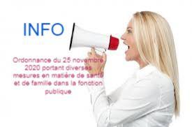 Ordonnance du 25 novembre 2020 portant diverses mesures en matière de santé et de famille dans la fonction publique