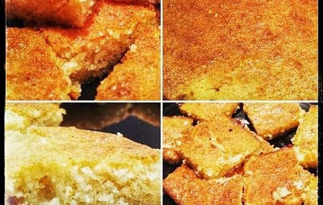 """Recette de Basboussa """"gâteau de semoule au sirop"""""""