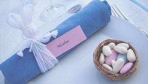 Décoration de table thème Pâques : Rond de serviette lièvre de Pâques