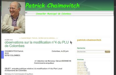 PLU COLOMBES : intervention de M Patrick CHAIMOVITCH Conseiller municipal EELV