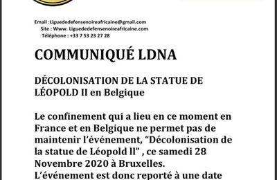 COMMUNIQUÉ LDNA    La DÉCOLONISATION DE LA STATUE DE LÉOPOLD II en Belgique est reportée.     L'équipe LDNA  #Léopold2 #belgium #congo #confinement #genocide #crime #colonial #reparations