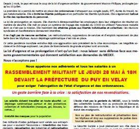 Jeudi 28 mai à 18h, tous au rassemblement devant la Préfecture pour la levée de l'état d'urgence !