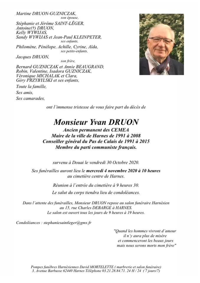Disparition d'Yvan Druon