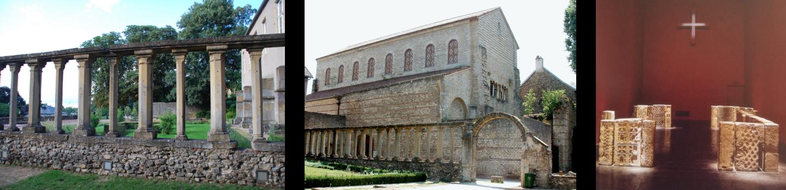 St-Pierre-aux-Nonnains, le cloître du XVIe siècle. Chancel, VIIe siècle, Musée de la Cour d'Or, Metz.