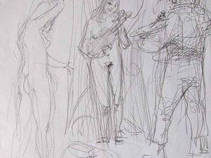 Autoportrait à l'atelier en train de peindre mon modèle. Crayon sur papier 21X30 Bhavsar