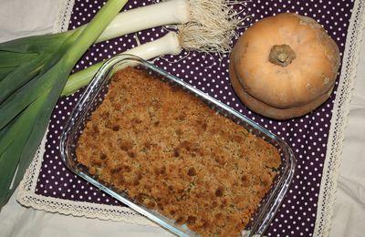 Le crumble poireau/butternut (il croustille et en plus il est sans gluten, sans beurre et c'est une recette anti-gaspi !!)