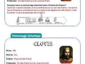 Fiche personnage historique : Clovis Roi des Francs CM1-CM2