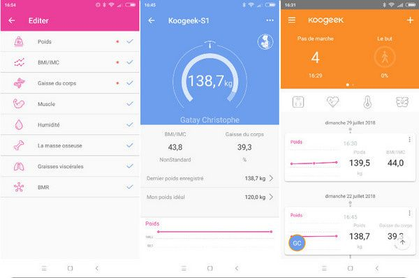 application smartphone de la balance connectée KooGeek @ Tests et Bons Plans