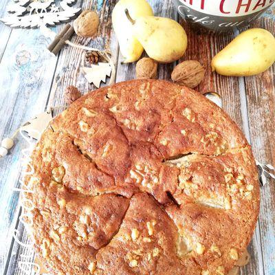 Gâteau Moelleux aux noix et aux poires