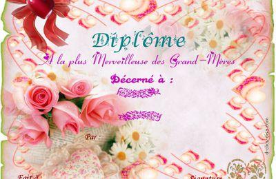 """Cartes """" Diplôme Bonne Fête Mamie et Papy """" , à imprimer gratuitement !"""