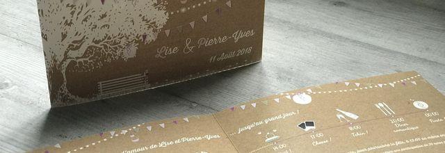 """Le faire part bucolique de mariage de Lise et Pierre-Yves : arbre, fanions ... un """"brin"""" guinguette"""