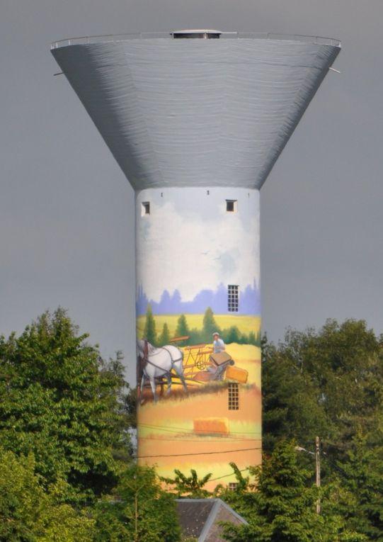 réalisation de la fresque sur la tour du réservoir