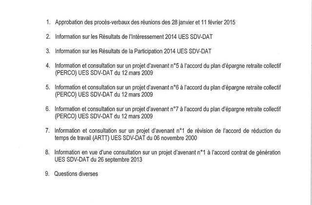 Réunion du CCUES du 27 Mars 2015 / ODJ
