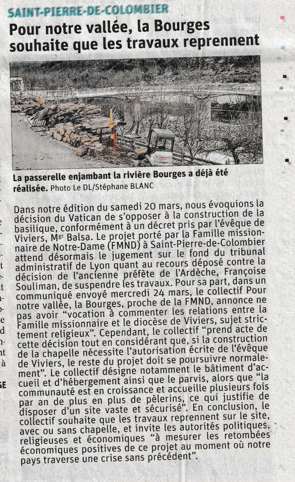"""""""Pour notre vallée, la Bourges souhaite que les travaux reprennent"""" (Le Dauphiné du 27/03/2021)"""