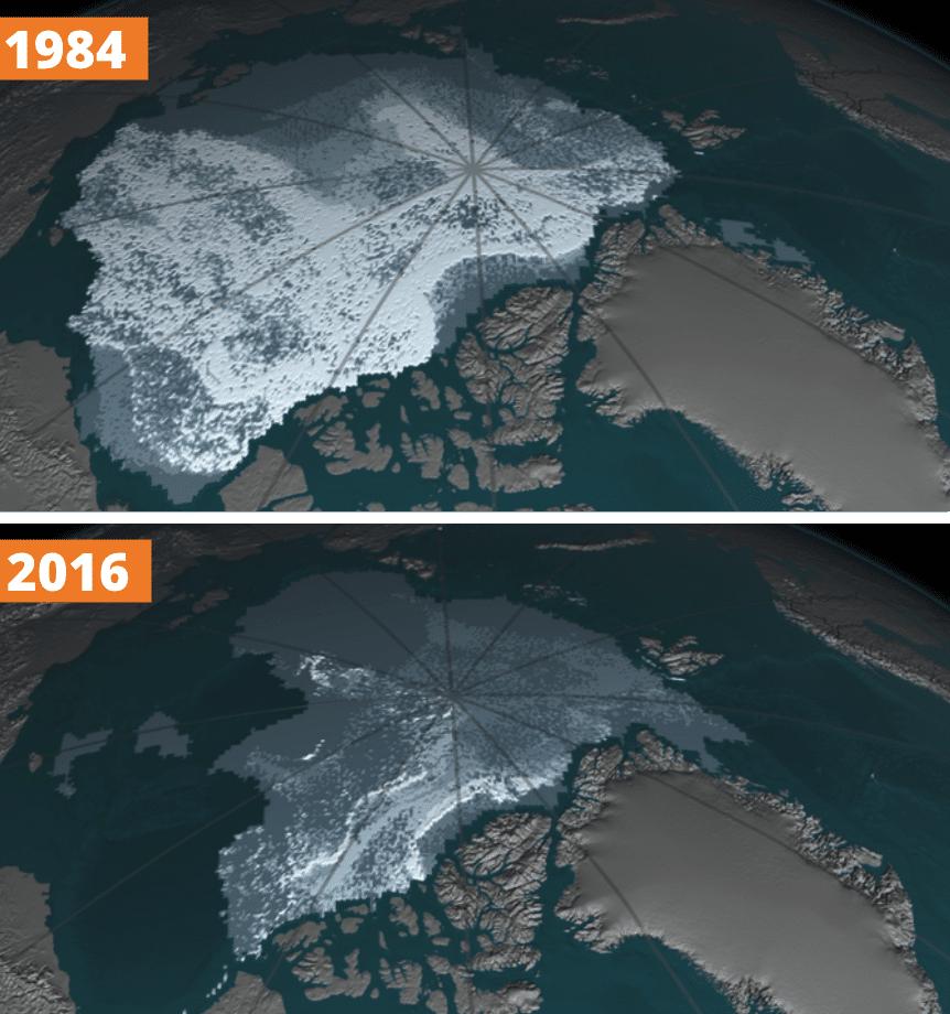 la NASA  et le Visible changement climatique